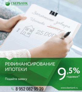 Рефинансирования ипотеки в Сбербанке