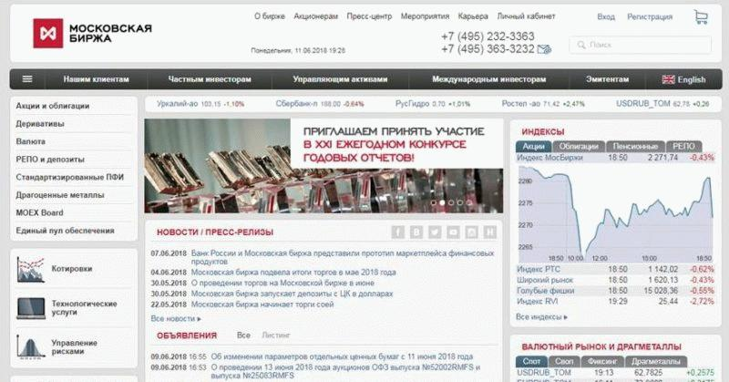 Интерфейс сайта Мосбиржи (moex.com)