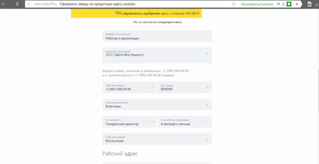 Заполнение анкеты 3 Тинькофф