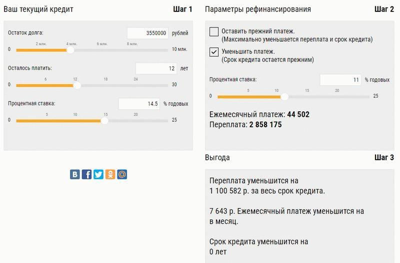 """Калькулятор рефинансирования """"РоссельхозБанка"""""""