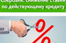 Сбербанк: снижение процентной ставки по действующему кредиту
