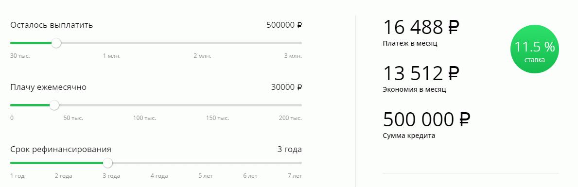 На сайтеСбербанка располагается калькулятор, позволяющий рассчитать выгоду заемщика