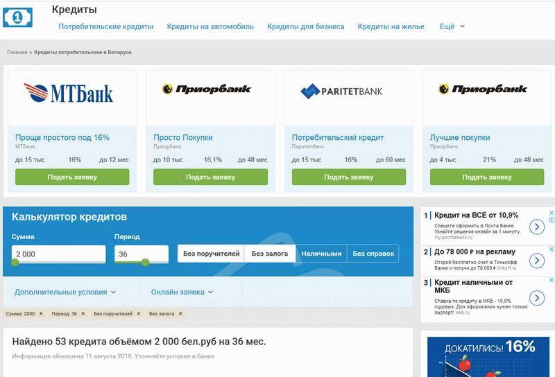 предложения Банки бел