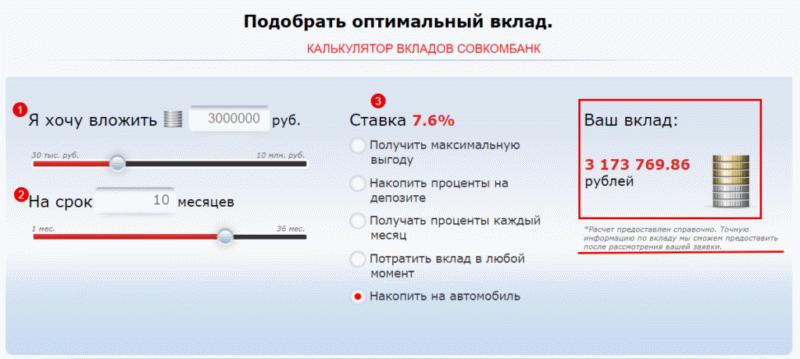 Калькулятор вкладов Совкомбанка. Варианты выбора выгодных предложений.
