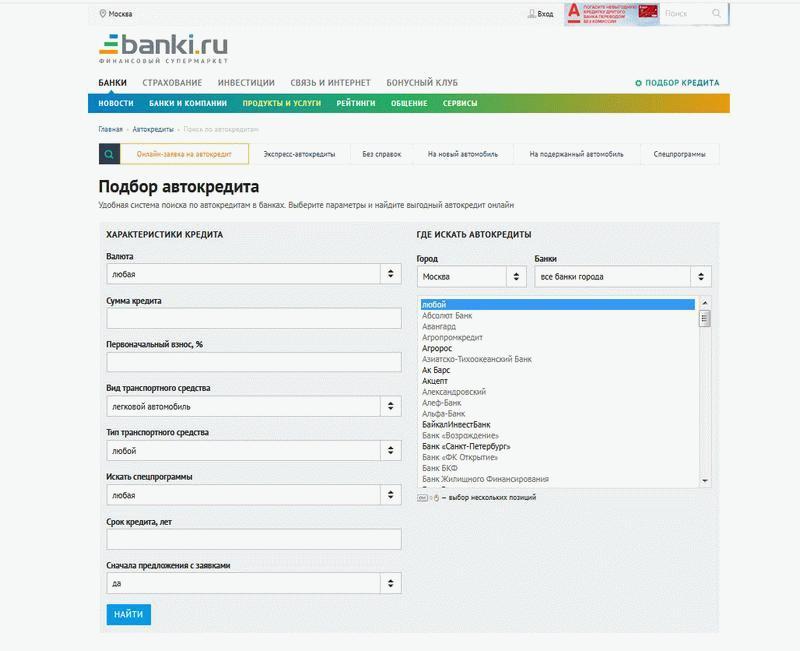 Предложения на банки ру