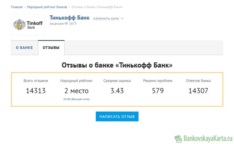 карта тинькофф банк отзывы пользователей